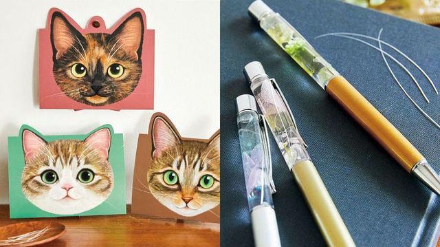 「フェリシモ猫部」の「猫のひげをかわいく飾れるスタンドカード」と「猫ひげがきらりと輝くハーバリウムペンキット」